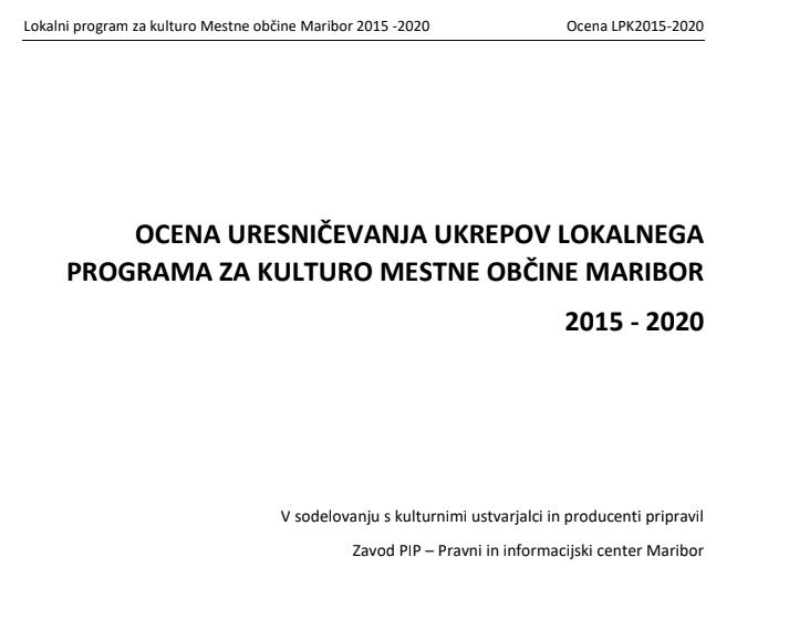 Ocena uresničevanja ukrepov LPK Mestne občine Maribor 2015 – 2020